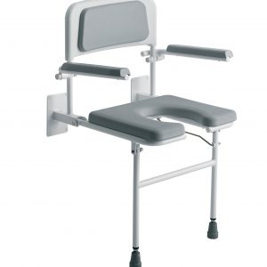 Wall Mounted padded shower seat with arms and back - 4239G-0
